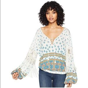 Free People Boho Macra Maze Me Fringe Top S